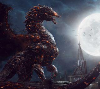 Обои на телефон луна, игра, дракон, dragon
