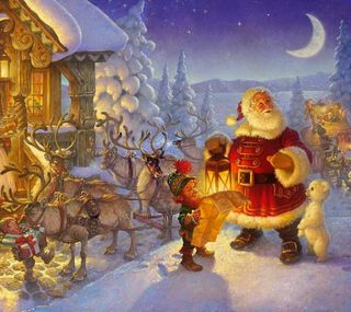 Обои на телефон подарок, холодное, счастливое, снег, санта, рождество, зима