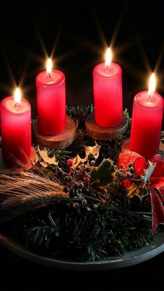 Обои на телефон свечи, счастливое, свет, рождество, красые, red candles, adventchristmas, advent