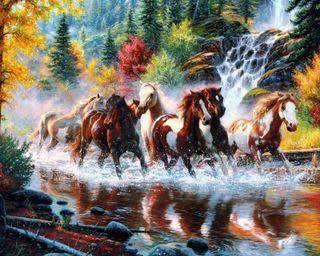Обои на телефон река, природа, осень, марк, лошади, лес, картина, keathley