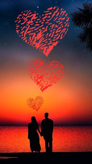 Обои на телефон горизонт, сердце, романтика, пейзаж, пара, океан, любовь, love for love, love