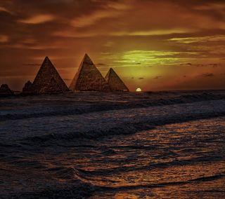 Обои на телефон пирамида, египет, океан, море, закат, египетский