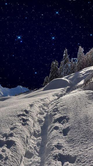 Обои на телефон холод, снежные, снег, сезон, природа, ночь, новый, крутые, зима, горы