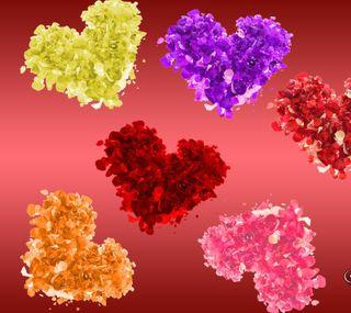 Обои на телефон лепестки, цветы, сердце, абстрактные
