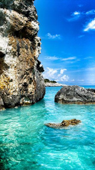 Обои на телефон рай, пляж, море, пейзаж, океан, греция, блестящие, creta greece
