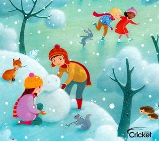 Обои на телефон крикет, снеговик, рождество, дети, арт, zedgecrickmas, making snowman, art