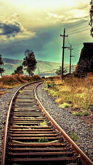 Обои на телефон путь, поезда, приятные, природа, небо, крутые, красота, классные, вид