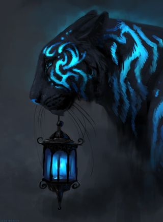 Обои на телефон фонарь, черные, фантазия, тигр, сюрреалистичный, синие, природа, животные, blue by jade merien