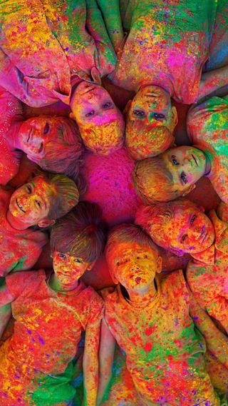 Обои на телефон фестиваль, цветные, холи, индия, индийские, дети