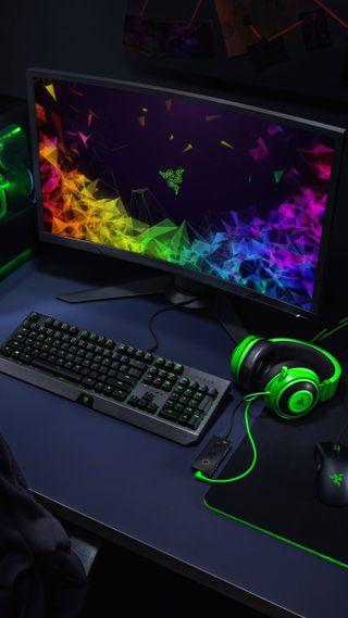Обои на телефон gaming setup, razer, razer gaming setup, логотипы, игровые, арт