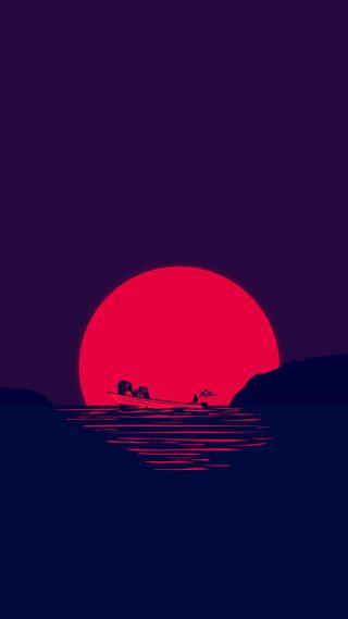 Обои на телефон лодки, закат, boat at sunset