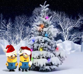 Обои на телефон санта, снег, рождество, огни, миньоны, милые, дерево, witner, minion xmas