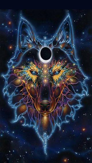 Обои на телефон фантазия, синие, лицо, звезды, животные, волк
