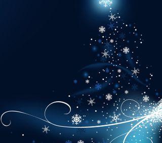 Обои на телефон сияние, цветные, снежинки, синие, свет, рождество, звезда, дерево