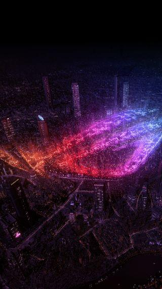 Обои на телефон туманность, огни, красые, красочные, космос, дракон, город, галактика, вселенная, асус, rog city lights, dragon, asus, rog, galaxy