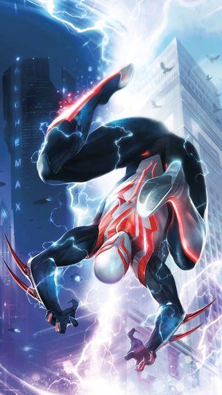 Обои на телефон будущее, человек паук, новый, spiderman2099, spiderman 2099 new, futuro, alchemax, 2099