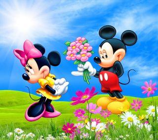 Обои на телефон минни, цветы, микки, маус, любовь, луг, дисней, весна, love, disney