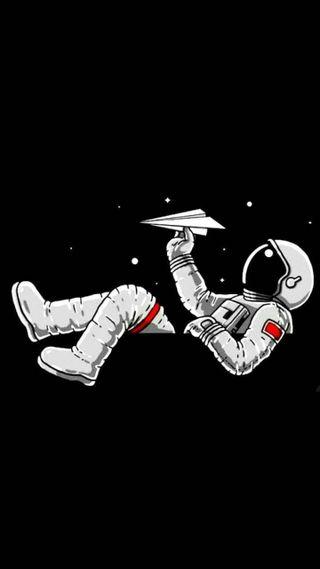 Обои на телефон космонавт, черные, самолет, космос