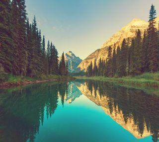 Обои на телефон отражение, природа, озеро, лес, горы, вода