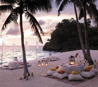 Обои на телефон пальмы, тропические, свечи, романтика, рай, природа, пейзаж, остров, облака, небо, romantic island