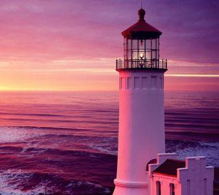 Обои на телефон сумерки, природа, маяк, закат, волны, вода, вечер, арт, lighthouse at sunset, art