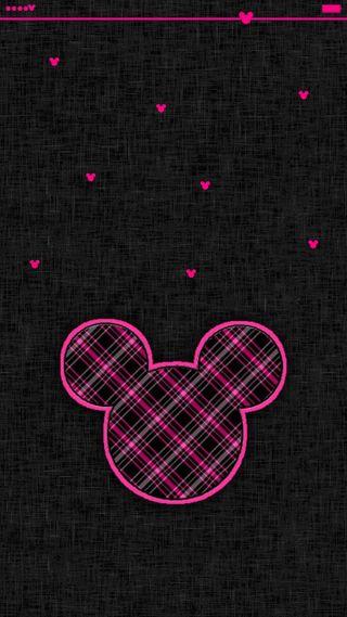 Обои на телефон минни, черные, сердце, розовые, маус, дисней, disney, checked