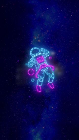 Обои на телефон космонавт, синие, неоновые, космос, space neon astronaut, astronauta neon
