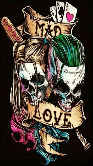 Обои на телефон харли, любовь, джокер, безумные, mad love