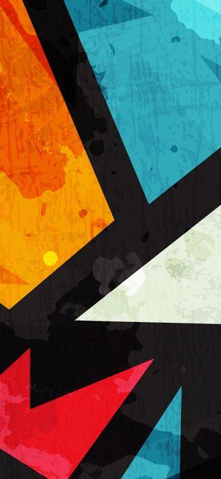 Обои на телефон оранжевые, черные, синие, плитка, красые, tile3