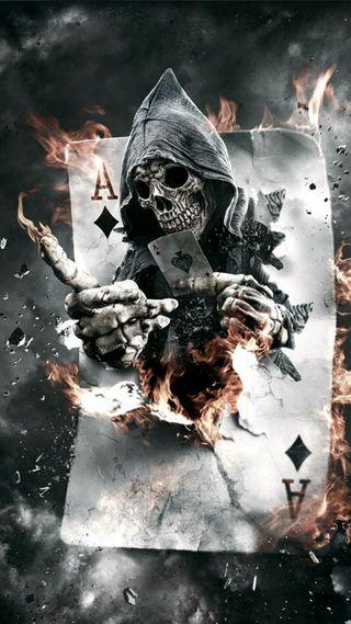 Обои на телефон череп, ультра, пожар, esqueleto, cartas, 4k, 1080p