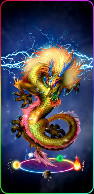 Обои на телефон молния, мир, космос, золотые, дракон, вселенная, dragon