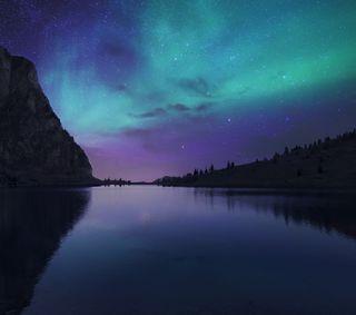 Обои на телефон аврора, осень, озеро, ночь, небо, night fall