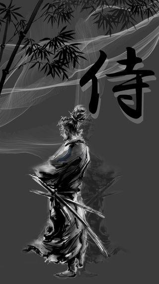Обои на телефон самурай, черные, белые