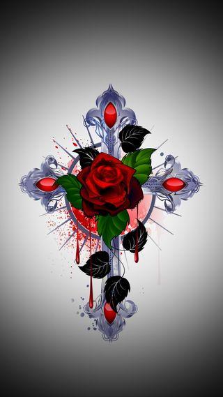Обои на телефон крест, цветы, христианские, символ, розы, абстрактные