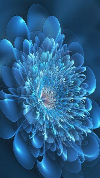 Обои на телефон фрактал, цветы, синие