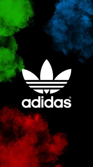 Обои на телефон дым, цветные, синие, логотипы, красые, красочные, зеленые, взрыв, бренды, адидас, adidas