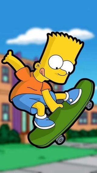 Обои на телефон скейтборд, скейт, симпсоны, барт, мультики