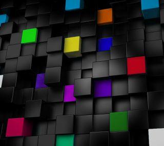 Обои на телефон 3d, 3d color cubes, цветные, 3д, радуга, кубы, куб, стены