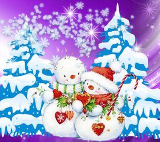 Обои на телефон счастливое, снеговик, рождество, зима, 1440x1280px