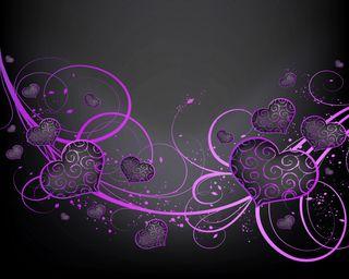 Обои на телефон векторные, черные, фиолетовые, сердце, любовь, абстрактные, purple black hearts, love