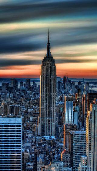 Обои на телефон нью йорк, фото, здания, закат, город