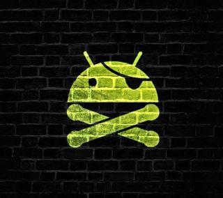 Обои на телефон кирпичи, зеленые, андроид, android brick, android