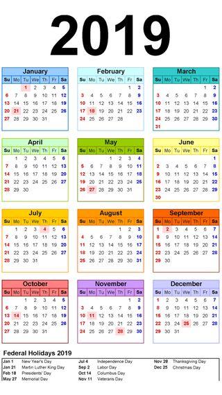 Обои на телефон каникулы, праздник, красочные, календарь, календари, astrology, 4k, 2019 calendar v2, 2019, 2010s, 19