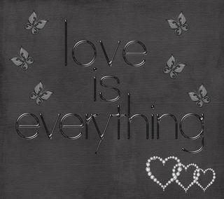 Обои на телефон черные, цитата, хром, текст, любовь, буквы, love is everything, love, chrome letters, black backgroun