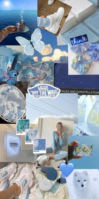 Обои на телефон bleu, blue aesthetic, синие, эстетические, коллаж