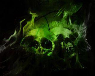 Обои на телефон конепт, череп, зеленые, арт, green skull, art