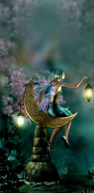 Обои на телефон фонарь, фантазия, сказочные, симпатичные, ночь, луна, лес, девчачие, nightwatchfairy