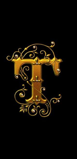 Обои на телефон черные, золотые, буквы, royal, letter t