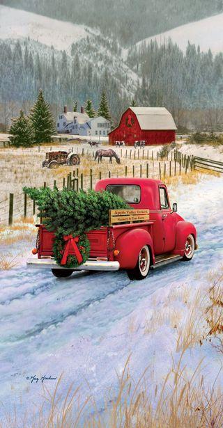 Обои на телефон christmas pickup, природа, машины, рождество, снег, дерево, счастливое, старые, естественные, грузовик