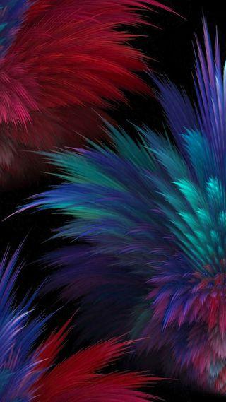 Обои на телефон абстрактные, синие, перья